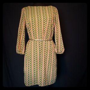 Maude Long Sleeve Chevron Zip Back Yellow Dress